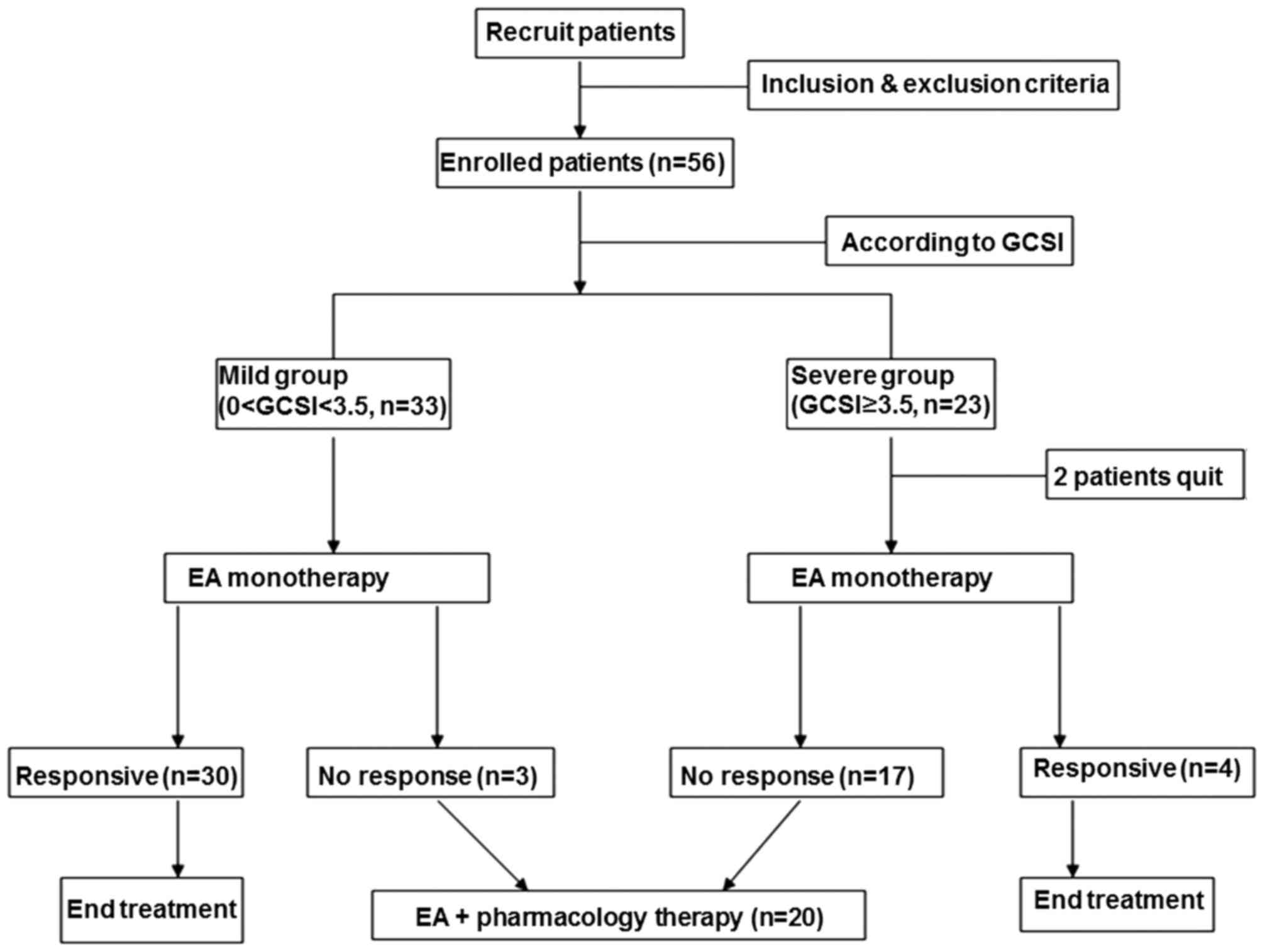 Electroacupuncture combined with mosapride alleviates symptoms in study flowchart to show the movement of patients throughout the study gcsi gastroparesis cardinal symptom index ea electroacupuncture nvjuhfo Image collections