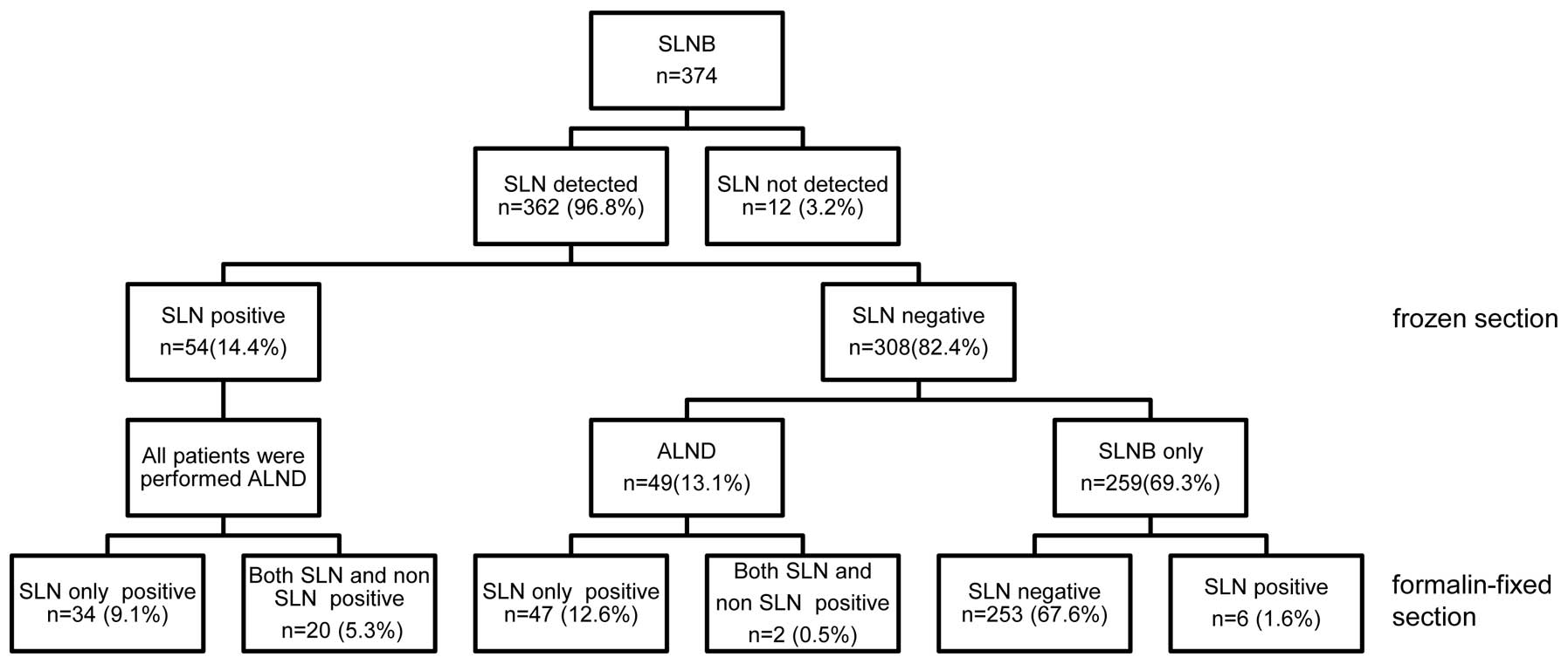 Use of the dyeguided sentinel lymph node biopsy method alone for slnb sentinel lymph node biopsy sln sentinel lymph node alnd axillary lymph node dissection ccuart Gallery