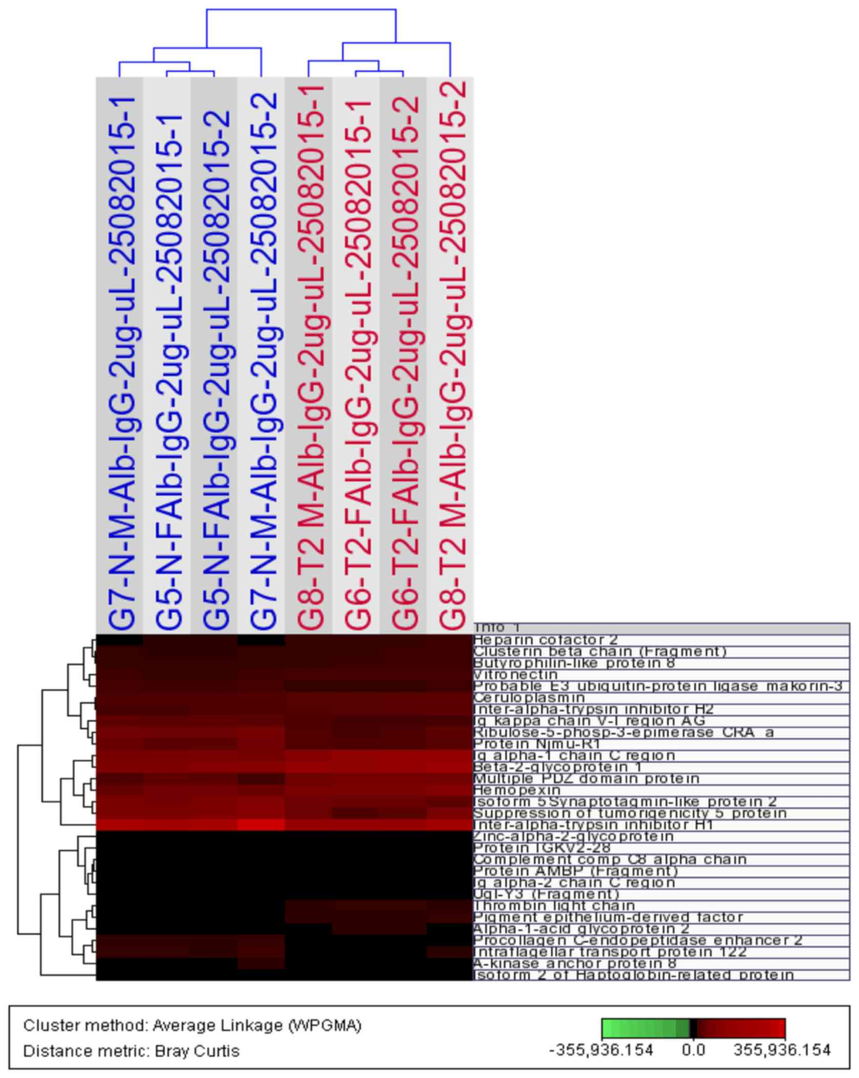 LC‑MS/MS proteomic analysis revealed novel associations of