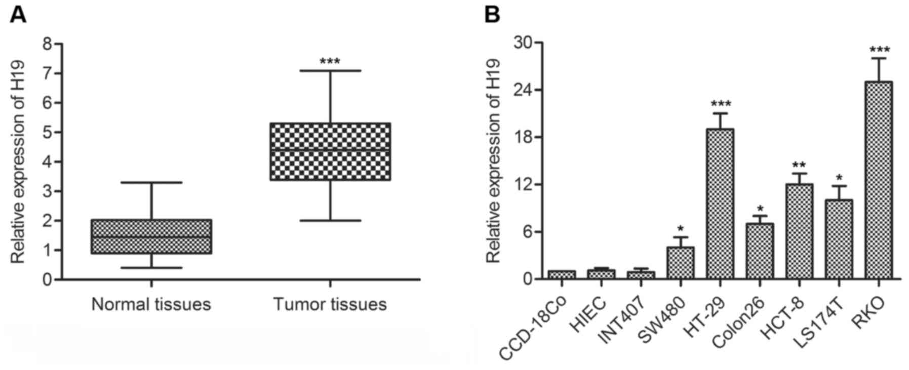 H19 Promotes The Migration And Invasion Of Colon Cancer By Sponging Wiring Diagram Furthermore Cat 5 Pdf On 5e 6 Figure 1 Lncrna Is Overexpressed In Tissue Cell Lines A Relative Expression Crc Samples Adjacent Histologically