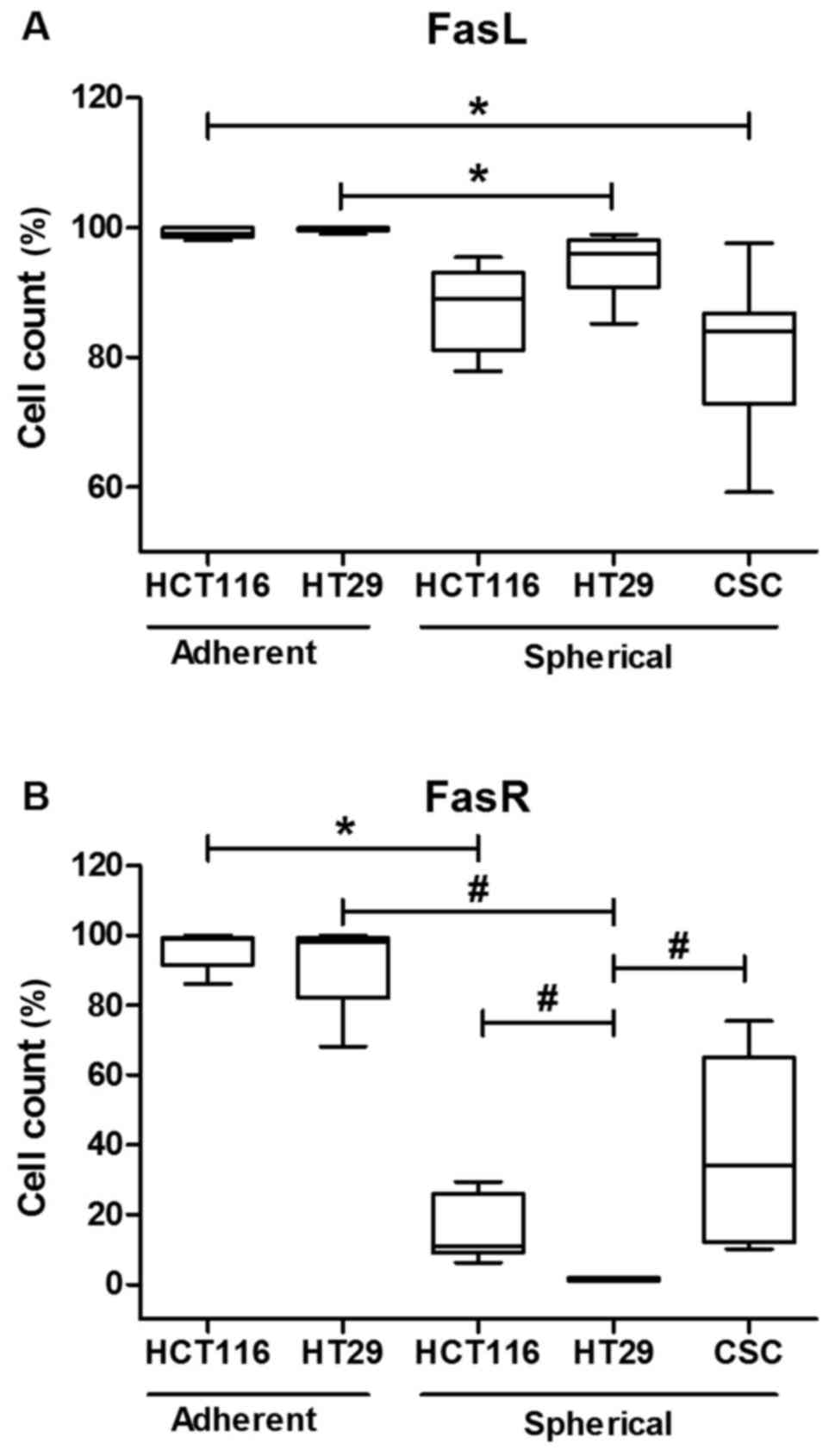 FasR and FasL in colorectal cancer