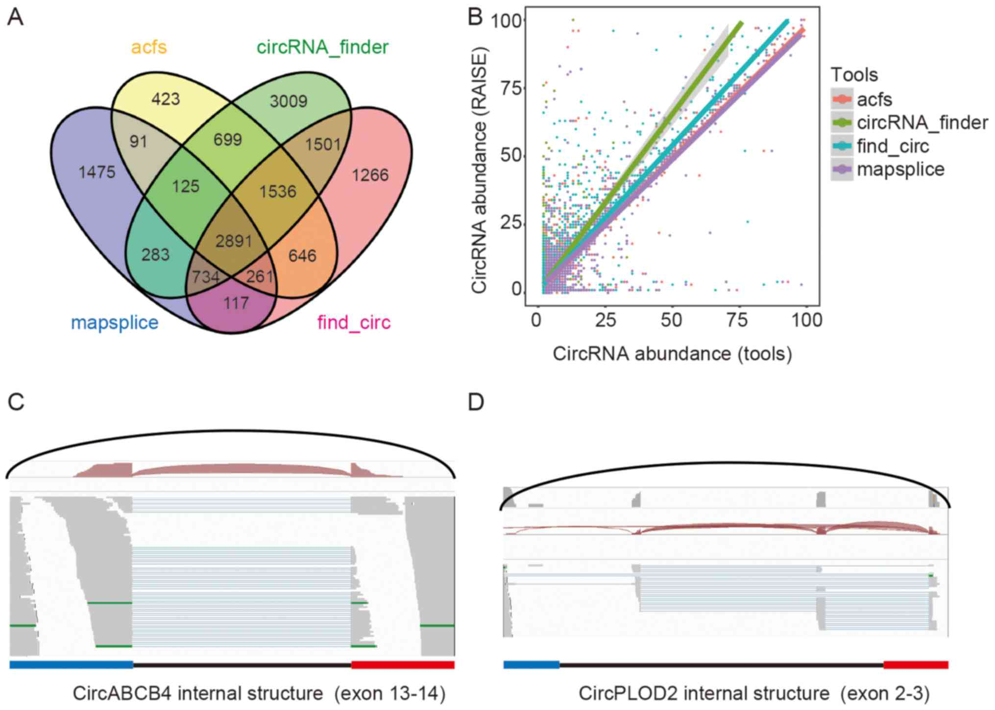 Comprehensive analysis of circrna expression profiles in humans by a venn diagram comparison of circrnas identified by the four tools b scatter plot of circrna abundance between raise and the four tools c the pooptronica Choice Image