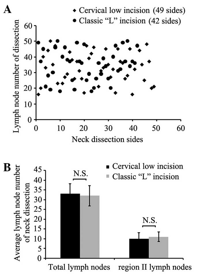 application of a cervical low incision in the functional neck dissection of thyroid papillary