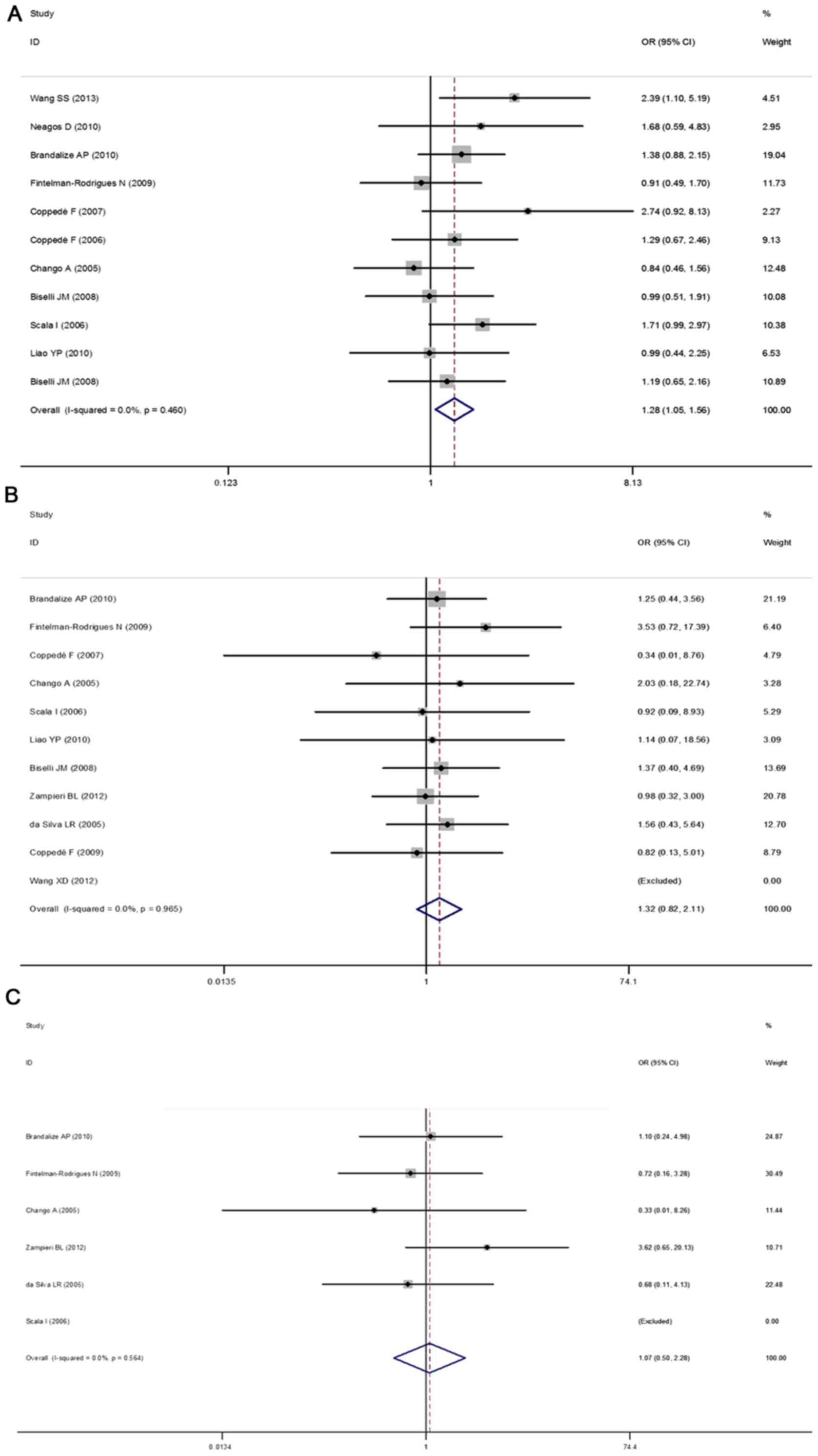 Association between polymorphisms in folate metabolism genes