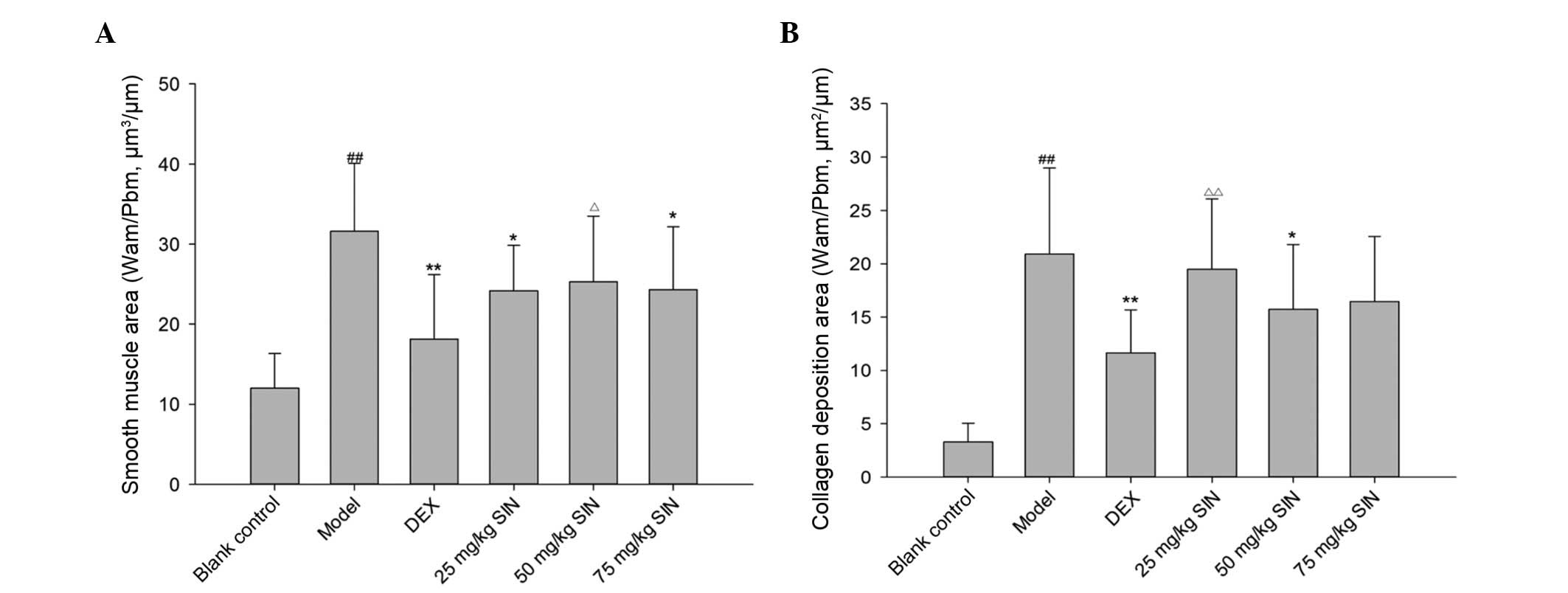 sinomenine attenuates airway inflammation and remodeling in a mouse