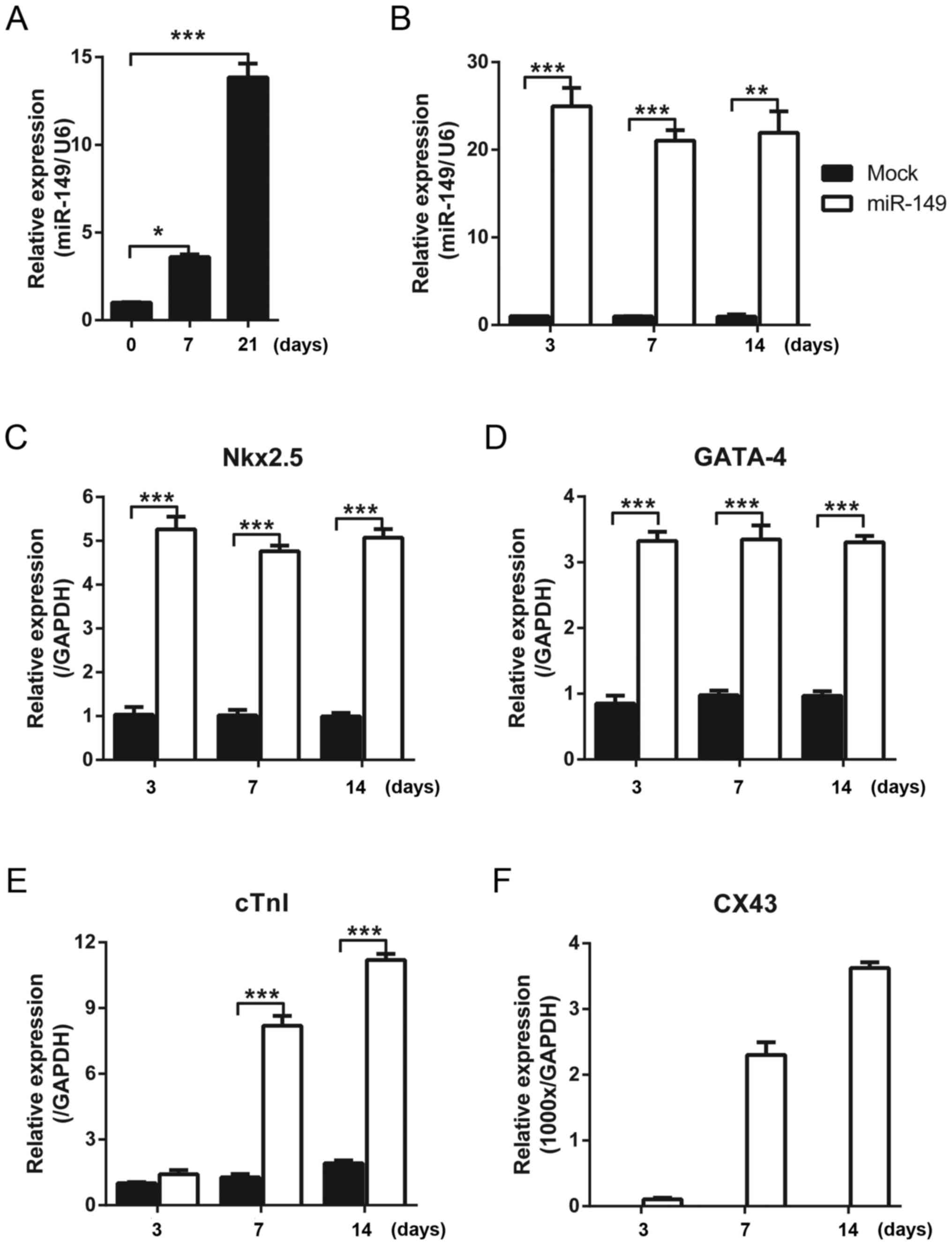Mir149 Promotes The Myocardial Differentiation Of Mouse Bone Marrow Figure1 Cell Phone Jammer Circuit Diagram Figure 1 Mir 149 Expression Cardiac Markers Mscs A In Treated With 5 Azacytidine At Different Time