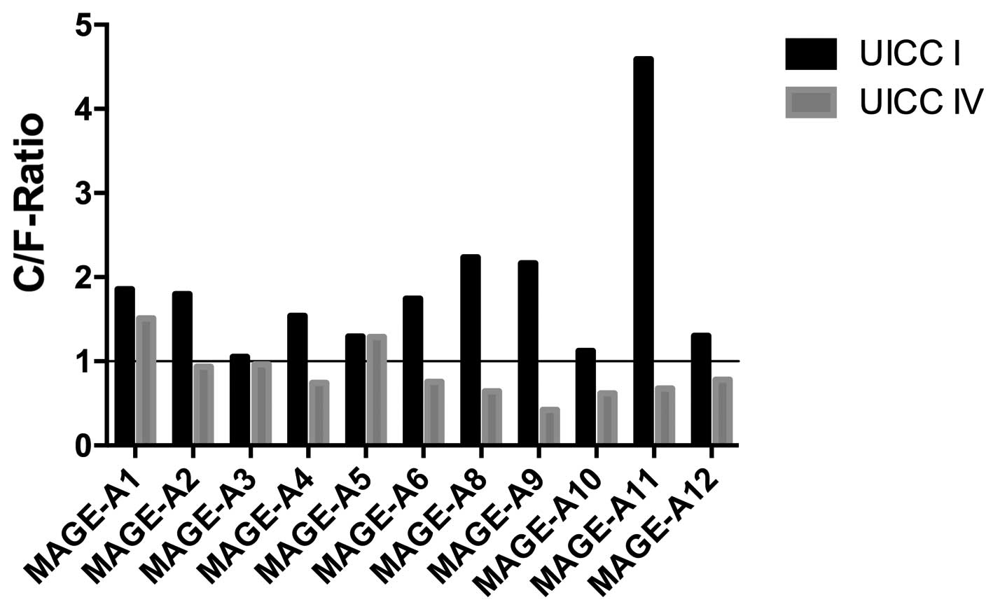 Contrary melanoma‑associated antigen‑A expression at the