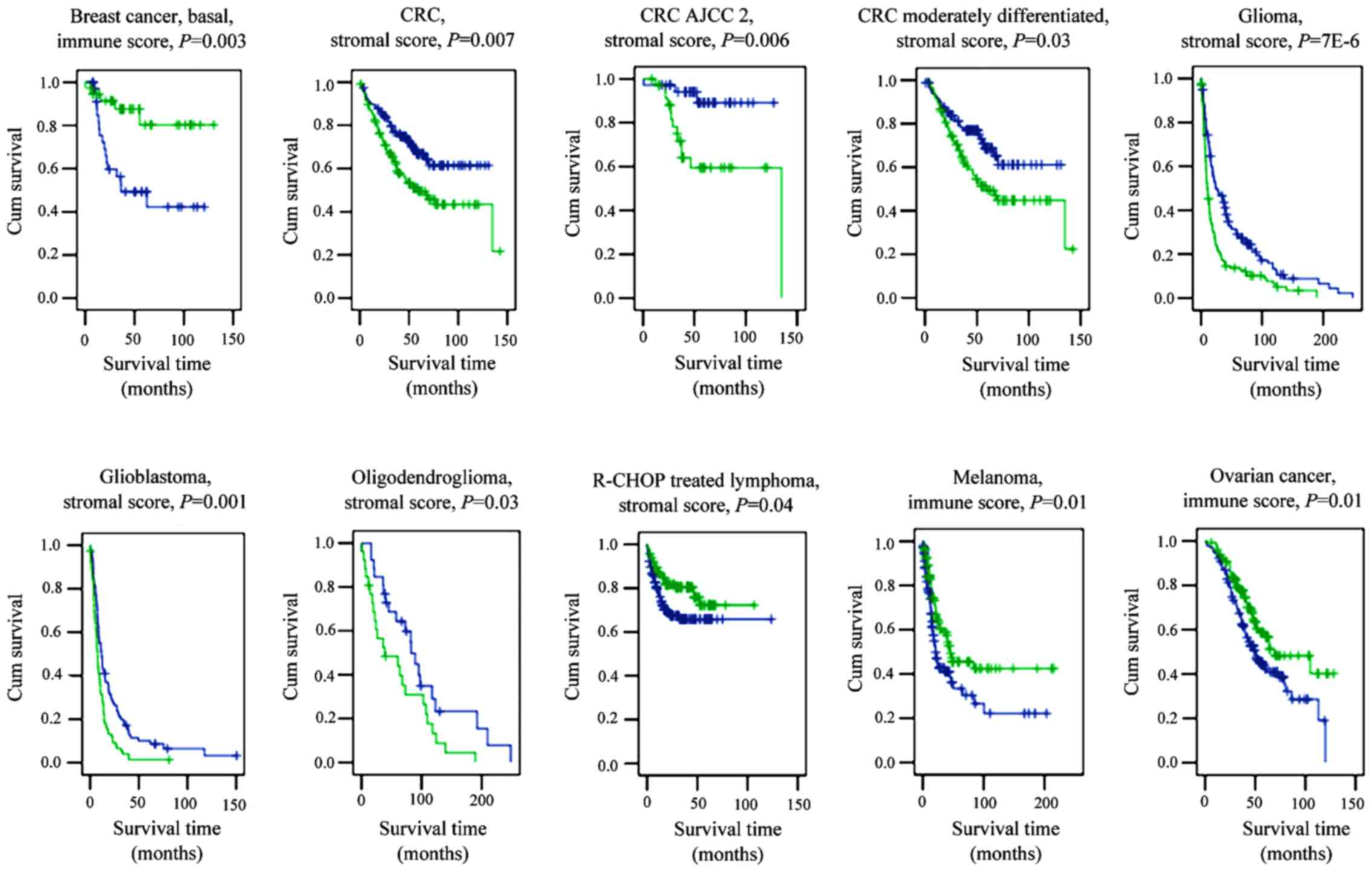 Transcriptome Derived Stromal And Immune Scores Infer Clinical Outcomes Of Patients With Cancer