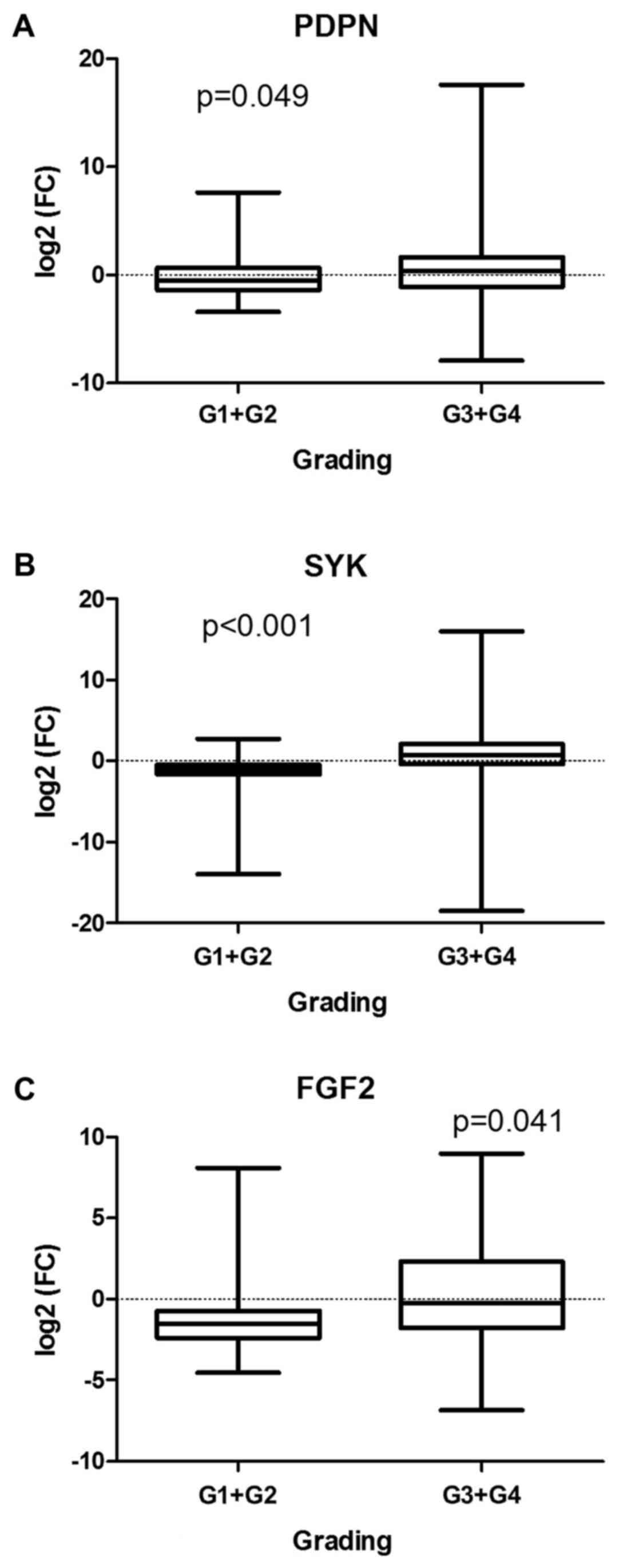Lymphatics Associated Genes Are Downregulated At Transcription Level