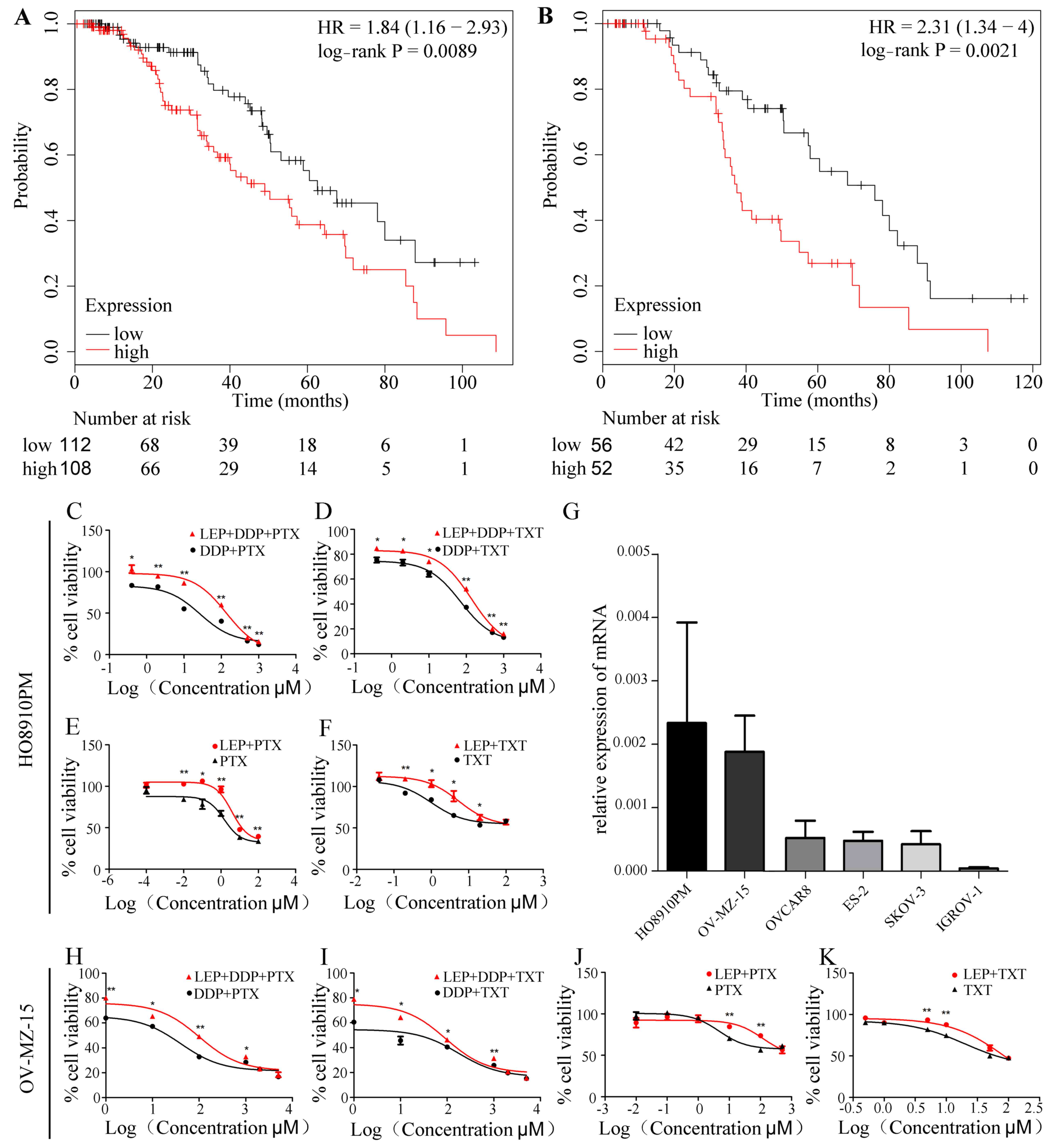 Leptin Contributes To The Taxol Chemoresistance In Epithelial Ovarian Cancer