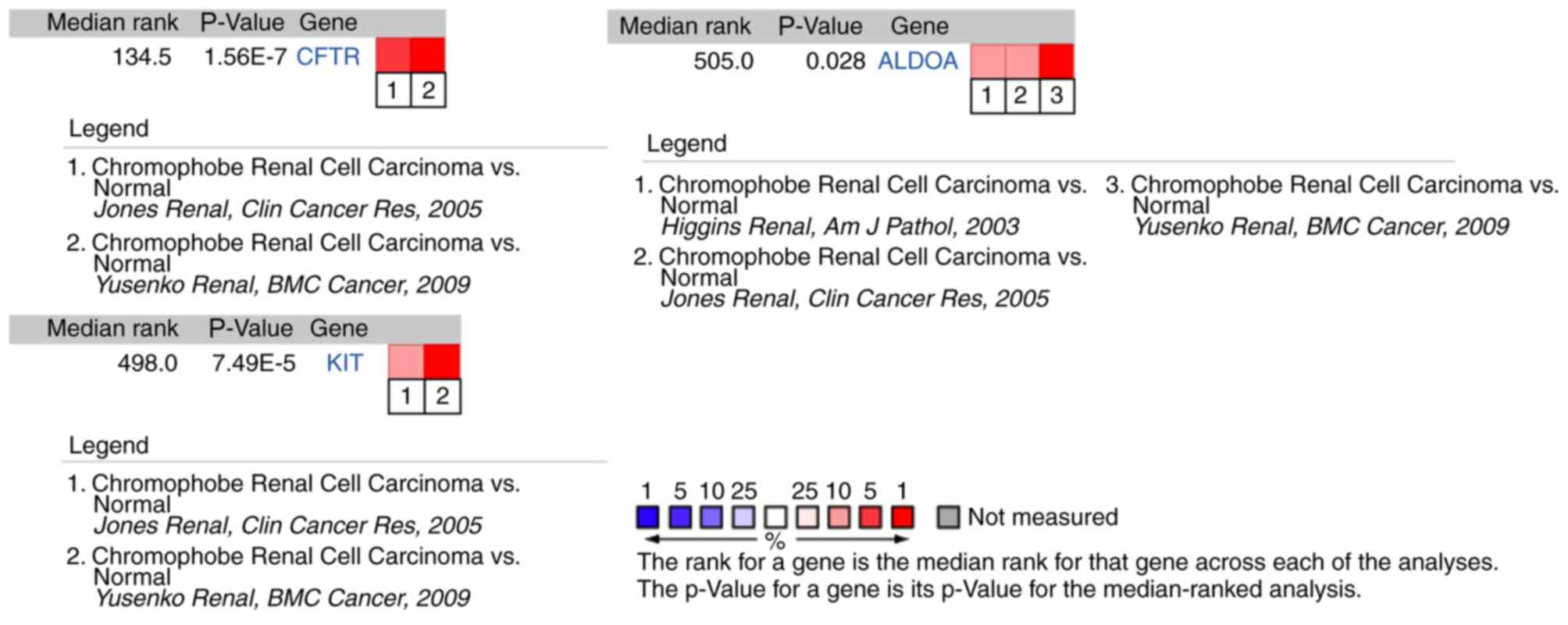 Identification of CFTR as a novel key gene in chromophobe