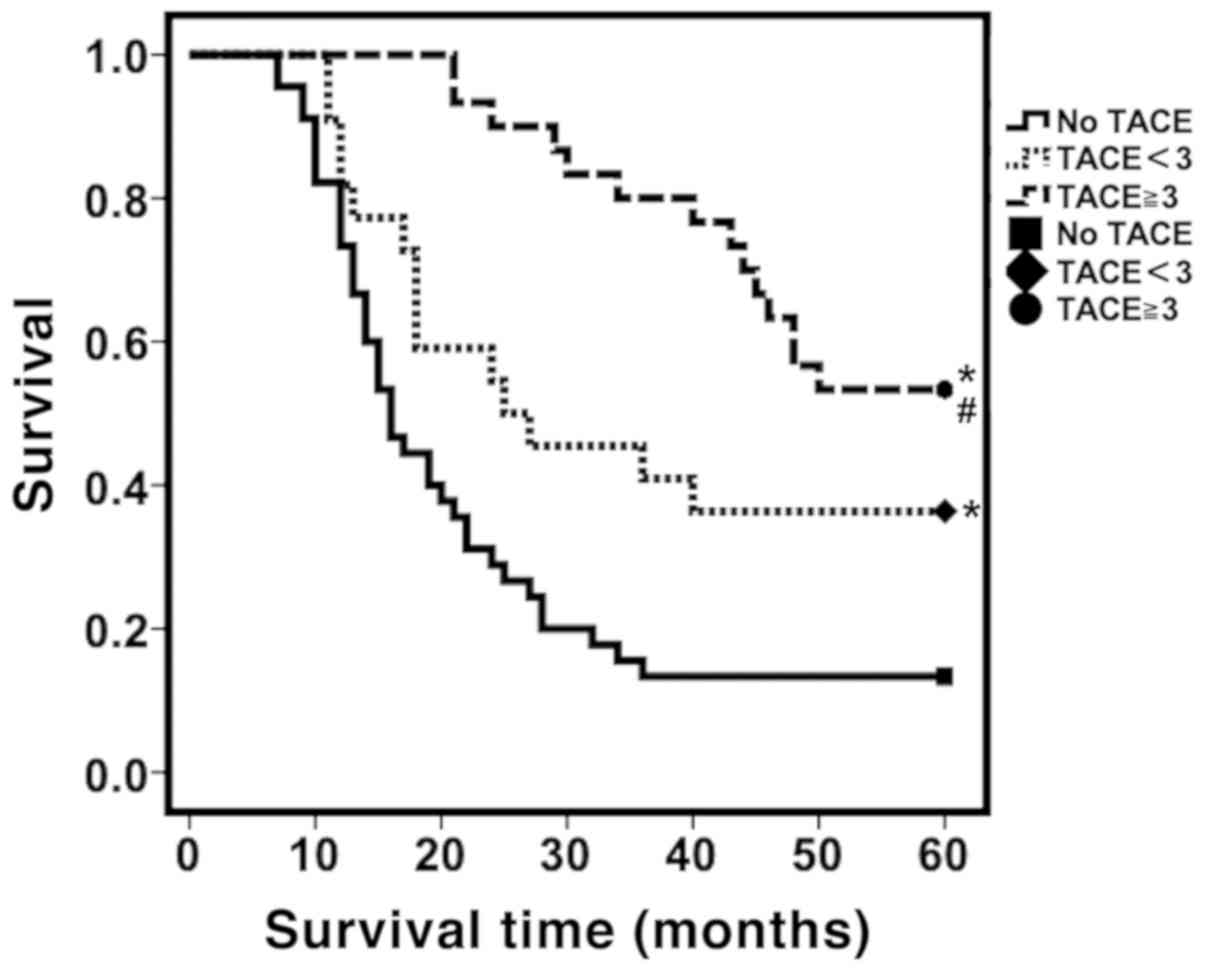 Effect of prophylactic TACE on 5‑year survival of patients