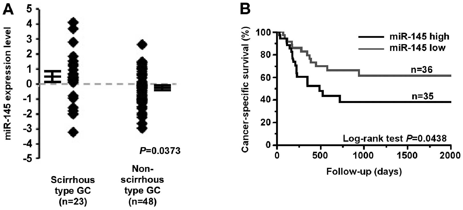 Microrna 145 Is A Potential Prognostic Factor Of Scirrhous Type Day 32 Interaction Diagrams And Force Figure 2 Relationship Between Mir Expression Patient Prognosis Levels In Formalin Fixed Paraffin Embedded Gastric Cancer