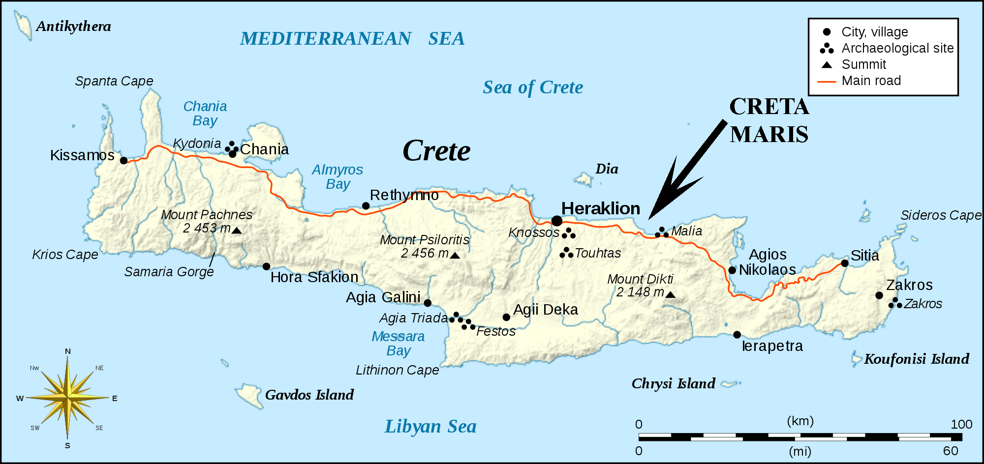 Island Of Crete Map Spandidos Publications